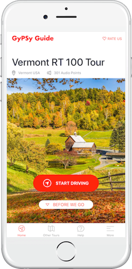 Vermont RT100 Tour by GyPSy Guide App